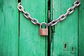 a door with a lock