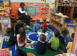 preschool teacher in classroom