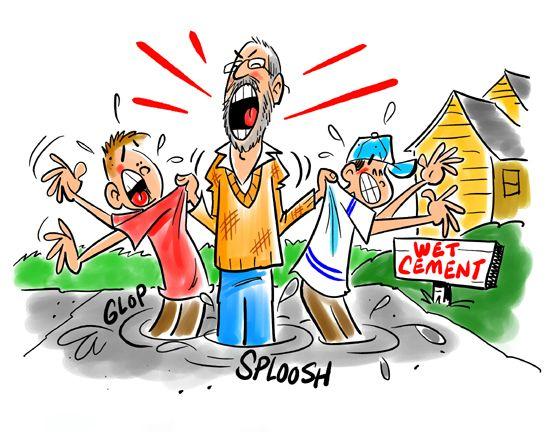Shaking children in wet cement