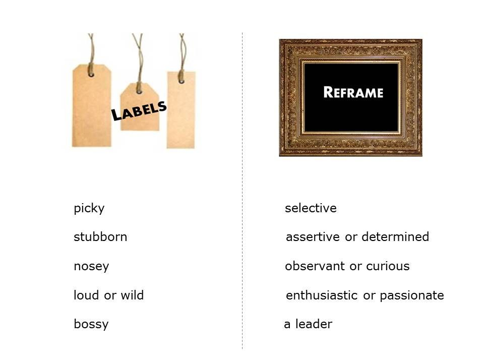 a list of labels and reframes