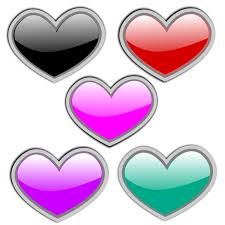 five colored hearts representing five love languages