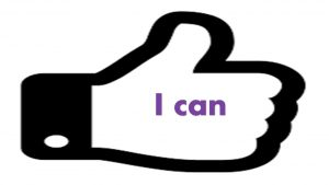 "thumbs up with the words ""i can"""