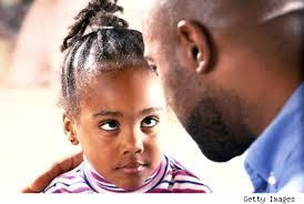 Dad and daughter talking