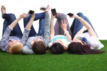 teens with phones
