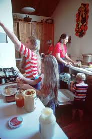 kids helping out and doing chores in kitchen