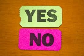 the words yes and no