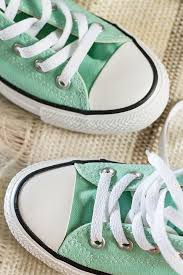 a pair of lime green sneakers